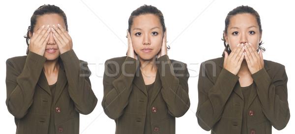 Stock photo: businesswoman - no evil