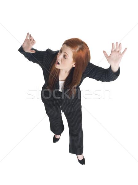 Сток-фото: деловая · женщина · запустить · далеко · изолированный · глядя