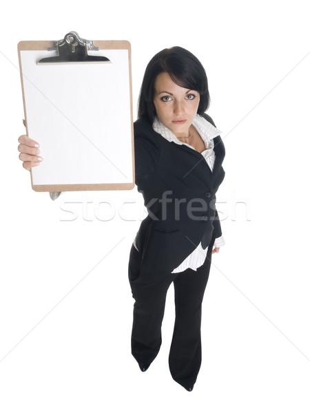 деловая женщина буфер обмена изолированный Сток-фото © dgilder