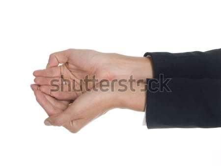 Stock fotó: üzletasszony · kezek · izolált · stúdiófelvétel