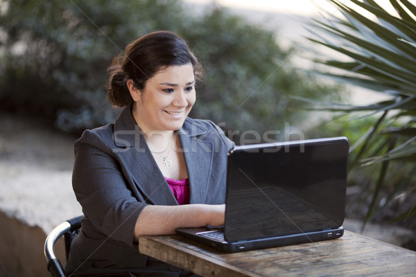Businesswoman - Telecommuting from Internet Cafe Stock photo © dgilder