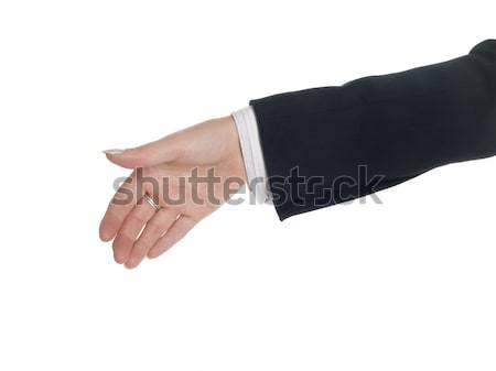 Empresário aperto de mão isolado empresária fora Foto stock © dgilder