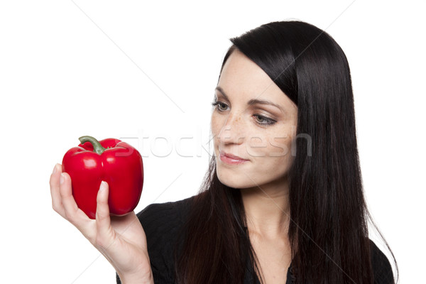 ストックフォト: 作り出す · 野菜 · 女性 · 赤 · ピーマン · 孤立した