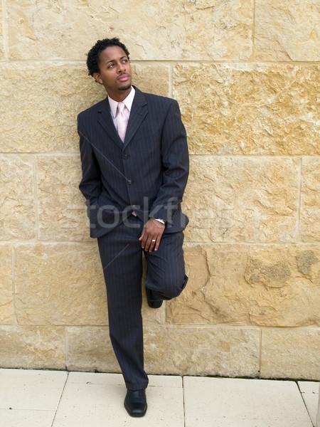Empresário três peça terno para cima Foto stock © dgilder
