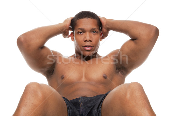 muscular man - situps Stock photo © dgilder