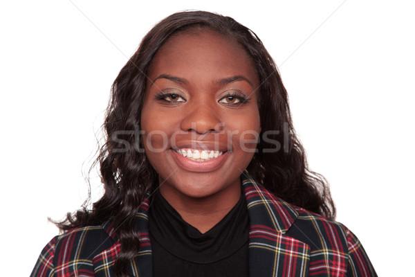 улыбаясь афроамериканец деловая женщина изолированный студию голову Сток-фото © dgilder