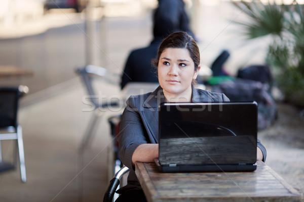 Mujer de negocios trabajar desde casa Internet Servicio stock foto Foto stock © dgilder