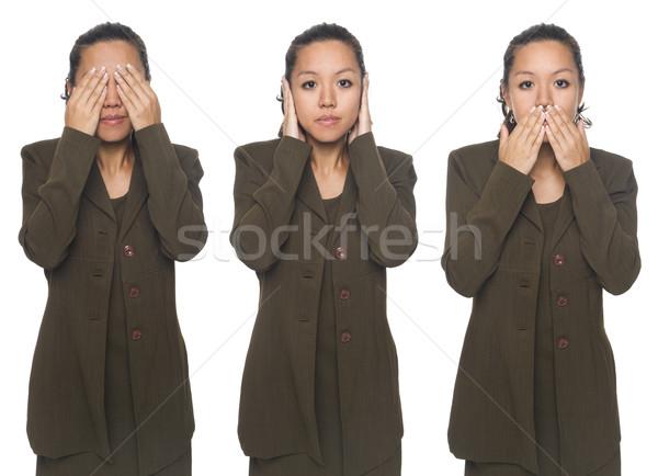 Kobieta interesu nie zło odizolowany zobaczyć Zdjęcia stock © dgilder
