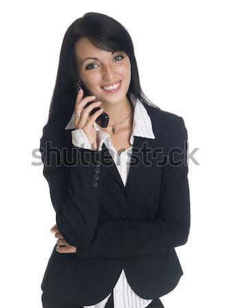 Empresária engraçado telefonema isolado sorridente Foto stock © dgilder