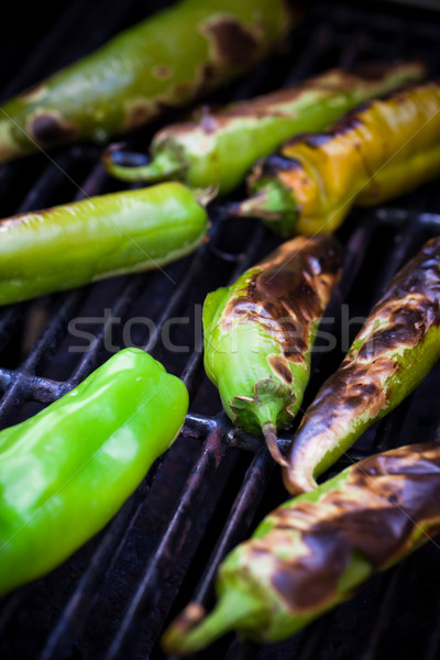 Produce - Summer _ Roasting Hatch Green Chilie Stock photo © dgilder