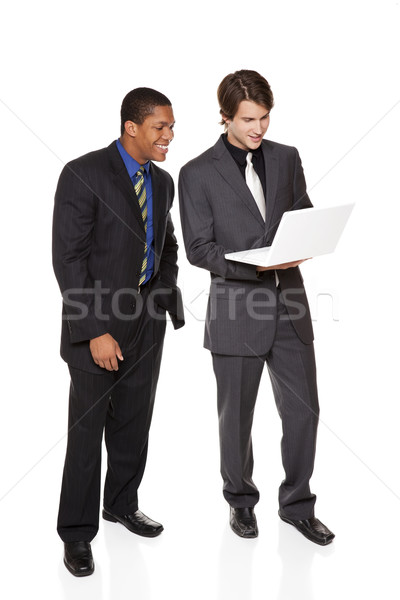 Stock photo: businesspeople - happy laptop team