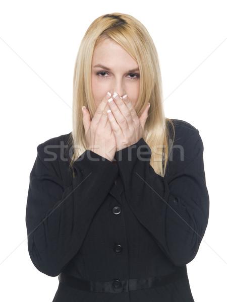 Stockfoto: Zakenvrouw · spreken · geen · kwaad · geïsoleerd