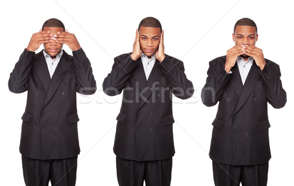 See Hear Speak No Evil - African American businessman isolated o Stock photo © dgilder