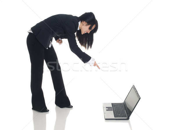 Empresária zangado laptop isolado Foto stock © dgilder