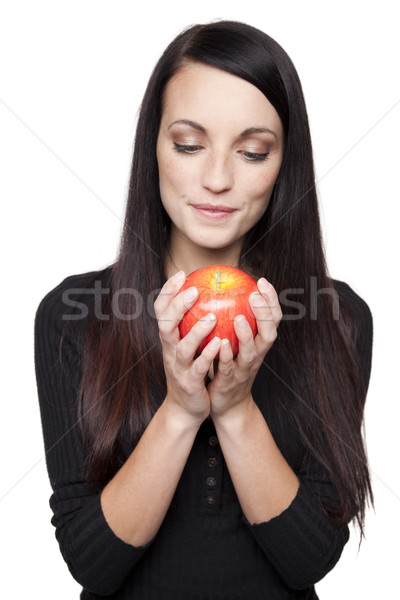Stock photo: Produce - fruit  woman with apple