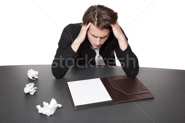 Geschäftsmann isoliert Leiden mehrere gescheitert Stock foto © dgilder