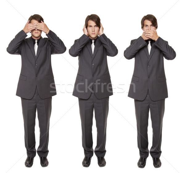 businessman - no evil poses Stock photo © dgilder
