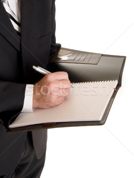 Stock fotó: Kezek · üzletember · jegyzetel · stock · fotó · jólöltözött