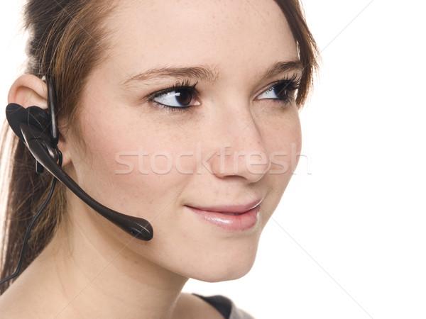 Casual mujer recepcionista aislado Foto stock © dgilder