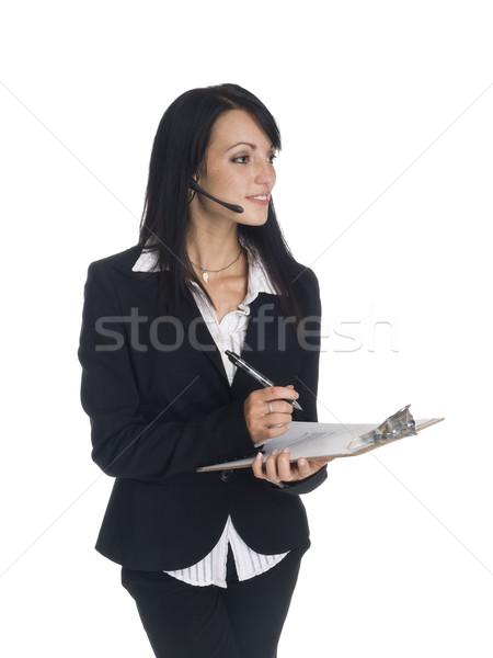Empresária telefonema clipboard isolado Foto stock © dgilder