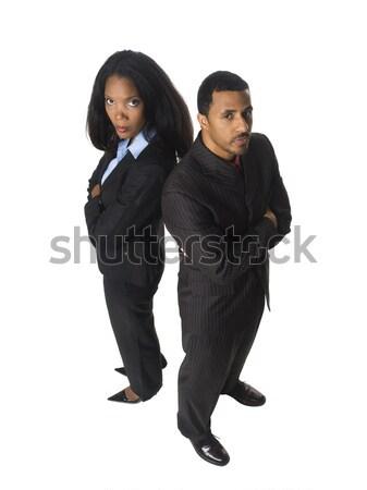 üzletemberek hát stúdiófelvétel afroamerikai üzleti csapat néz Stock fotó © dgilder