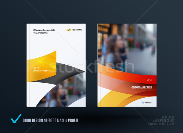 Set of design brochure, abstract annual report, horizontal cover Stock photo © Diamond-Graphics