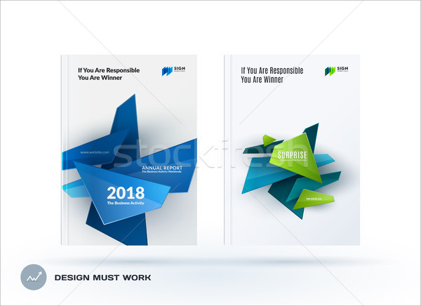 Business set of design brochure, abstract annual report, horizontal cover layout, flyer in A4 with v Stock photo © Diamond-Graphics