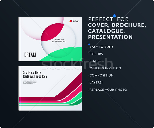 Presentation. Abstract vector set of modern horizontal templates with colourful smooth shapes for bu Stock photo © Diamond-Graphics