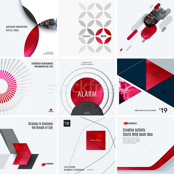 Design set of red colourful abstract vector elements for modern background with circles, squares, tr Stock photo © Diamond-Graphics