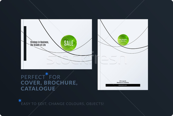Creative minimal design of brochure set, abstract annual report, horizontal cover, flyer in A4 Stock photo © Diamond-Graphics