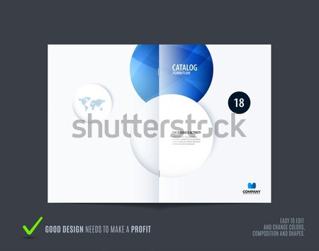 Stock photo: Template. Creative blue abstract minimal design of brochure set, annual report, horizontal cover