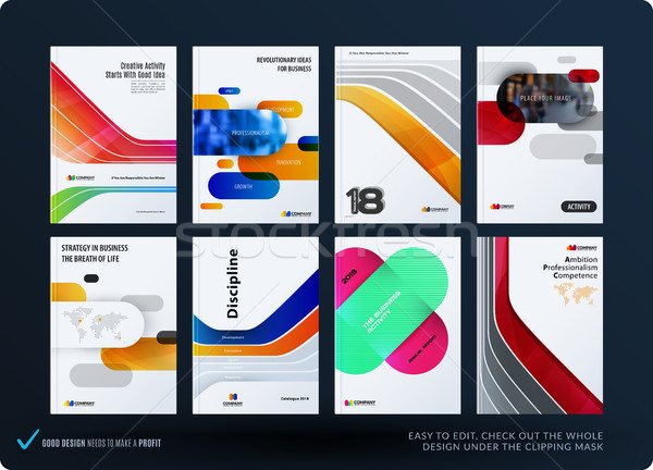 Creative design of business brochure set, abstract horizontal cover layout, flyer in A4 with colourf Stock photo © Diamond-Graphics