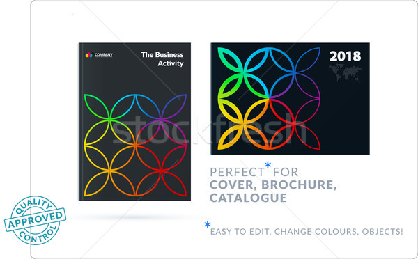 Stock photo: Creative design of business brochure set, abstract horizontal cover layout, flyer in A4