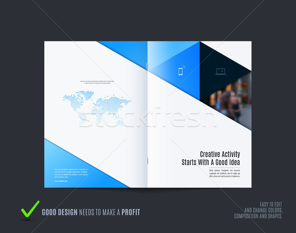 Streszczenie kolorowy niebieski broszura materiału projektu Zdjęcia stock © Diamond-Graphics