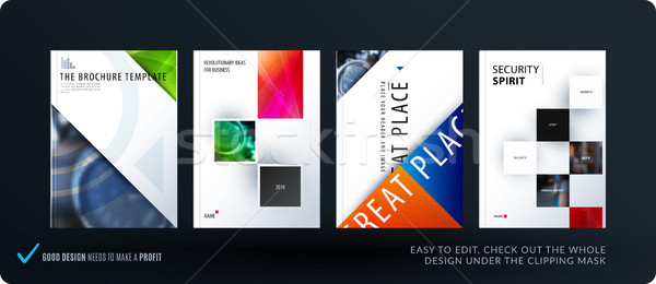 Brochure design triangular template. Colourful modern abstract set, annual report with shapes for br Stock photo © Diamond-Graphics