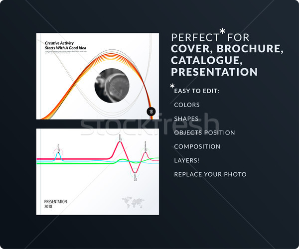 Soft design presentation template with colourful waves and lines. Abstract vector set of modern hori Stock photo © Diamond-Graphics