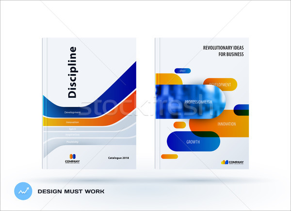 Creative design of blue orange business brochure set, abstract horizontal cover layout, flyer in A4  Stock photo © Diamond-Graphics