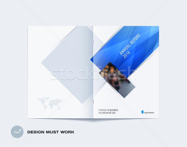 Soyut broşür dizayn dikdörtgen biçiminde stil mavi Stok fotoğraf © Diamond-Graphics