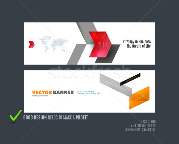 Abstract vector set of modern horizontal website banners with colourful arrows diagonal shape, abstr Stock photo © Diamond-Graphics