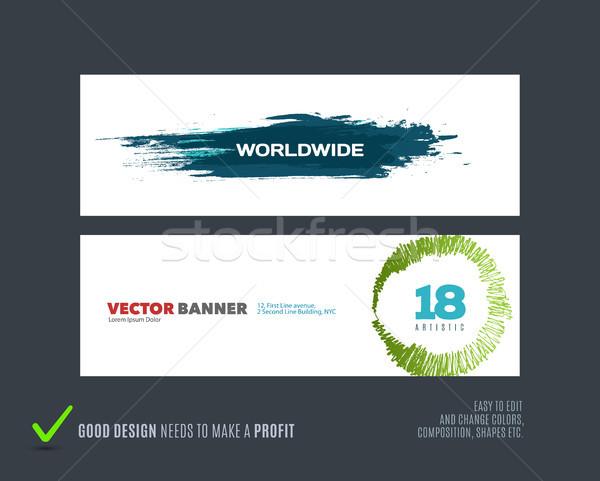 Abstract vector set of modern horizontal website banners Stock photo © Diamond-Graphics