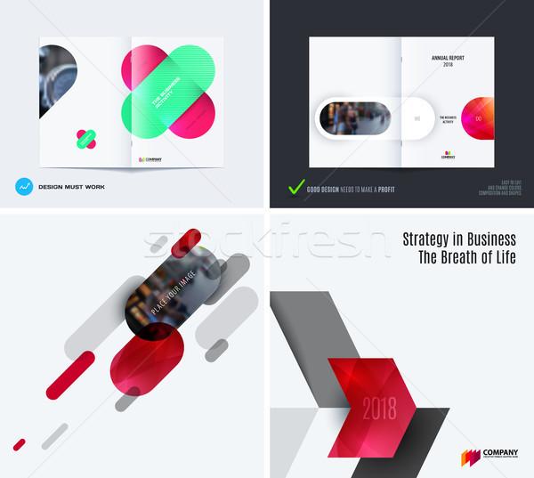 Ingesteld abstract vector ontwerp grafische sjabloon Stockfoto © Diamond-Graphics