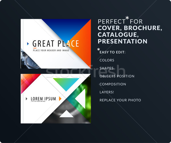 Stock photo: Triangular design presentation template with colourful triangles and diagonals. Abstract vector set