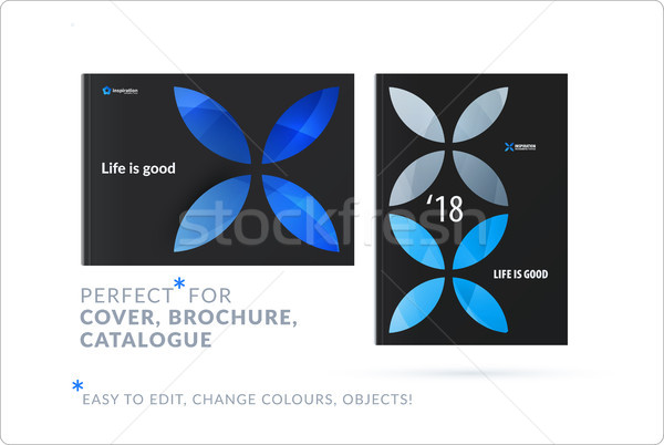 Creative design of business brochure set, abstract horizontal cover layout, flyer in A4 Stock photo © Diamond-Graphics