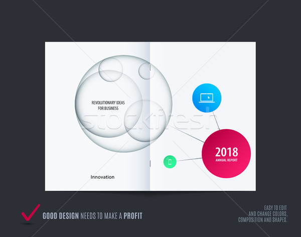 Design of abstract double-page brochure with colourful circles, quares, triangles for branding. Busi Stock photo © Diamond-Graphics