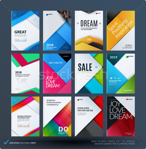 Material design of business brochure set, abstract horizontal cover Stock photo © Diamond-Graphics