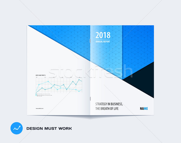 Abstract colourful blue brochure in material design paper cut style, modern catalog, centerfold cove Stock photo © Diamond-Graphics
