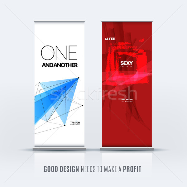 Abstract business vector set of modern roll up banner stand design Stock photo © Diamond-Graphics