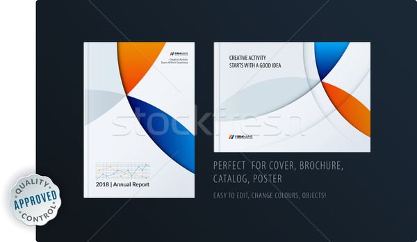 Material design template with colourful circles intersections. Creative abstract brochure set, annua Stock photo © Diamond-Graphics
