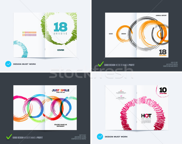 Set of abstract design of business vector brochure, template cover Stock photo © Diamond-Graphics