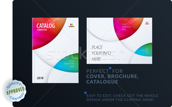 Stock photo: Template. Creative abstract minimal design of brochure set, annual report, horizontal cover